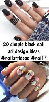 20 simple black nail art design ideas #nailartideas #nail 1