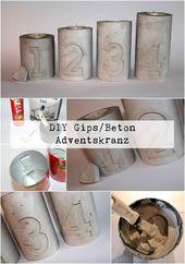DIY Gips / Beton Kerzenhalter als Weihnachtskranz einfach selber machen