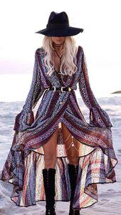 Long boho dress, Coachella style, Coachella dress, Long slit dress, Gypsy dress,…