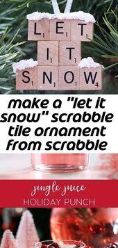 """Machen Sie eine Scrabblefliesenverzierung """"lassen Sie es schneien"""" von den Scrabblefliesen und von der Schneebeschaffenheitsfarbe! so einfach zu 4"""