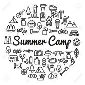 Summer Camp word with icons – vector illustration