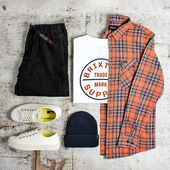 A Brixton Men's Outfit Grid with the Brixton Bowery Long Sleeve Flannel Shirt – Style preppy