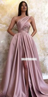 One Shoulder A-line Satin Backless Slit Prom Dress with Pockets, FC3774 #prom #p…