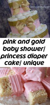 Rosa und Goldbabyparty / Prinzessinwindelkuchen / einzigartiger Windelkuchen / Mädchenbabyparty / sein ein Mädchen / 1   – Baby Shower