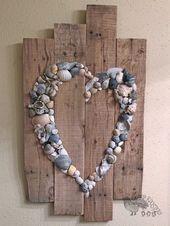 Shell Heart Sign- Beach Sign- Shell Art- Beach Wedding Sign- Anniversary Gift- Beach House- Wedding   – Craft Ideas