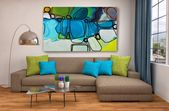 """Stimmung im Blues. Geometrische abstrakte Kunst, Wanddekoration, Extra große abstrakte farbenfrohe zeitgenössische Leinwand Kunstdruck bis zu 72 """"von Irena Orlov – ornamental"""