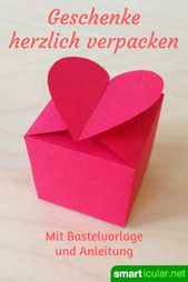 Heart box fold without gluing – Print template & instructions