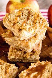 Receta de barras de pastel de queso con manzana y caramelo – Julie & # 39; s Eats & Treats ®   – Recettes