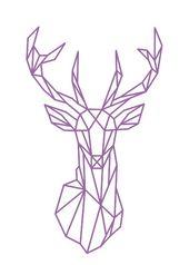 Geometric Deer Head Wall Sticker Geometry Animal S…