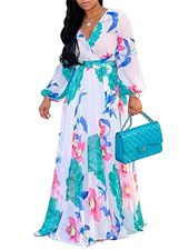Womens Lengthy Sleeve Floral Maxi Costume Chiffon Lining Printed Horny Summer time Attire …