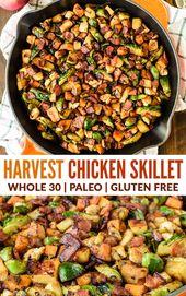 Harvest Chicken Apple Sweet Potato Skillet mit Speck und Rosenkohl. Ein er …   – Easy Chicken Dinners