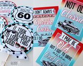 Classic Car Hot Rod Diner Birthday Party Package | Hot Rod 50's | Classic Car | Adult 60th 66th | Route 66 | Assembled & Shipped To You