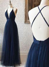 Langes Ballkleid aus rückenfreiem Tüll mit V-Ausschnitt, dunkelblaues Abendkleid