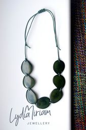 Eco Fashion NaturalGrey Pastel Tagua Bead Necklace Sustainable Jewellery Bold Eco-friendly Jewellery