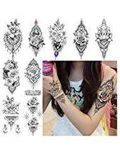 LAROI 9 Blätter Indische Spitzenrose Blume Wasserdicht Temporäre Tattoos Henna – Temporare Tattoos
