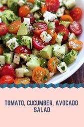 Recipes-Yummy   Tomato, Cucumber, Avocado Salad