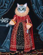 Elizabethan Lady Cat Folk Art Print 8×10, 11×14