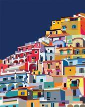 Positano Italie artwork imprimable Amalfi coast print Colourful wall artwork Artwork Amalfi Coast poster Italy artwork Colourful paintings poster artwork artwork