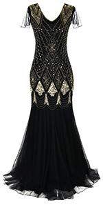 f7e47419b7b376 Amazon.com: PrettyGuide Women 's 1920s Black Sequin Gatsby Maxi Long  Evening Prom Dress, Black - 2/4: Clothing