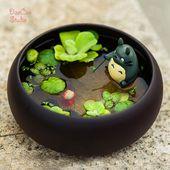 Totoro Angeln auf Bambusfloß, Ponyo Fisch Baby Glibli Studio Mini Fairy Garden …  – Studios Ghibli