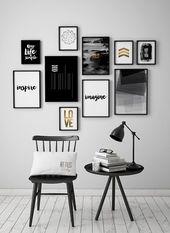 Schwarz und weiß Kunstdrucke, Satz von 10 Drucke, Poster, 10 Kunst-Drucke-Satz, minimalistische Plakate, ArtFilesVicky