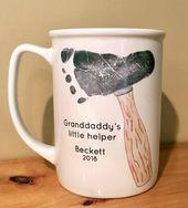 Hammer Footprint Mug 207A_Mug, Father's Day, Personalized Christmas Present, Daddy's Little Helper