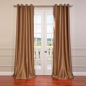 Exclusive Fabrics & Furnishings Flax Gold Grommet Blackout Vintage Textured Faux Dupioni Silk Curtain – 50 in. W x 84 in. L-PDCH-KBS8-84-GR