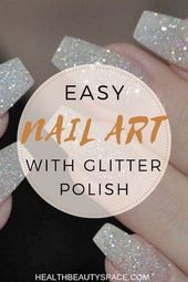 Simple Nail Artwork With Glitter Polish