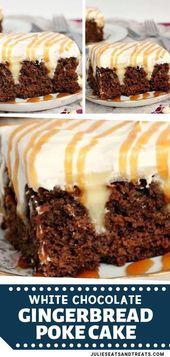 Feuchter Gewürzkuchen mit cremeweißem Schokoladenpudding gefüllt und mit …