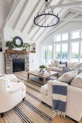 See Haus blau und weiß Wohnzimmer Dekor – #blau #…