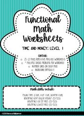 Functional Math Time And Money Worksheets For Your Students Math Worksheets Math Money Worksheets