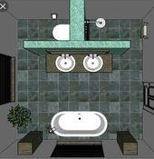 Schöne Badelösung, aber bei hohen Schränken etwas zu symmetrisch. Eher das Bad in der Ecke