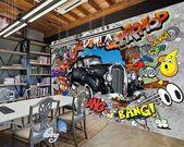 3D Graffiti Vintage Car Break Wall Murals Wallpaper Wall Art Decals Decor IDCWP-TY-000092   – basement