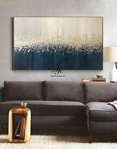 Large Abstract Oil Painting Original art,Gold Leaf Silver Leaf fall painting,Wall Decor Bedroom Above bed,Textured Painting by Julia Kotenko