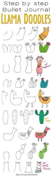 Llama Doodles – 9 Adorable Alpaca Inspired Doodles for Bullet Journals