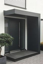 Eingangsüberdachung / Vordach für Haustüren von Siebau in L-Form. Verkleidet
