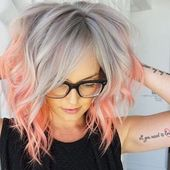 Hair Pink Gray color