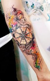 Watercolor Compass Inner Forearm Tattoo Ideas for Women – Compass Underarm Tattoo Ideas for Women Chicas – www.MyBodiArt.com – Beautiful Tattoos And More