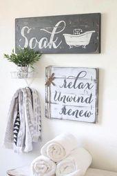 RUSTIC FARMHOUSE BATHROOM decor, 2 or 3 pc set, farmhouse bathroom, soak sign, relax soak unwind, wood relax sign, rustic bathroom signs