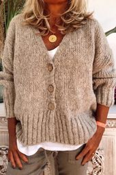 Button Down V Neck Solid Casual Sweater – dressh…