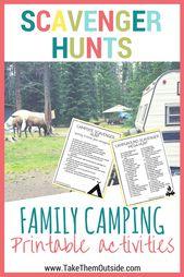 Chasses au trésor de camping imprimables pour les enfants et les familles   – Camping with Kids | Traveling with Kids