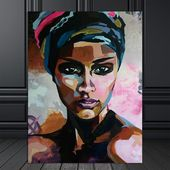 Watercolor Portrait of a Beautiful Black Woman on Canvas
