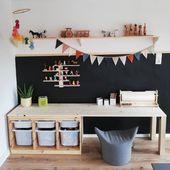 """l e n a on Instagram: """"Der neue Mal und Bastelbereich vom kleinen Mann ist fertig und ich bin hin und weg von meiner Blitzidee 😍 die Wand kann mit Kreide bemalt…"""" – My Blog – Babyzimmer Wandgestaltung"""