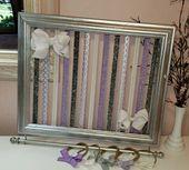 Lavender Bow Holder, Silver Bow Frame, Headband Organizer, Purple, Headband Holder, Girl Nursery Decor, Hair Bow Organizer, Girls Room