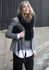gray wool suit, gray pullover with a round neck, white business shirt, black suit trousers for D