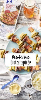 Brotzeit-Spieße zum Oktoberfest mit Krautsalat – #BrotzeitSpieße #Krautsalat #… – SOMMER / SUMMER REZEPTE
