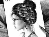 Art Drawings Tumblr – Schöne Zeichnung, Mädchen mit Brille und Dutt Frisur, der Kopf als Bibliothek – New Ideas