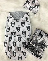 Baby Boy Swaddle Blanket Set With Hat and Coordinating Burp Cloths, Black And White Bears