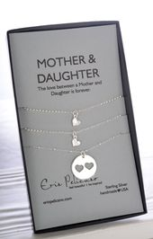 Sterling Silver Mother Daughter Necklace Set | Mother of the Bride Gift Twin sister gift