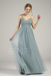 Bridesmaid Dress Dusty Blue Lace Wedding Dress Long V Neck Spaghetti Strap  Prom Dress Illusion Lace-up Back A-line Tulle Dress (HS736)